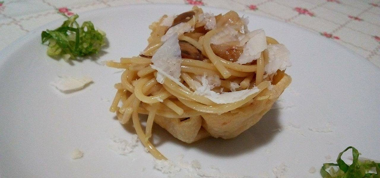 Spaghetti con funghi Marzuoli